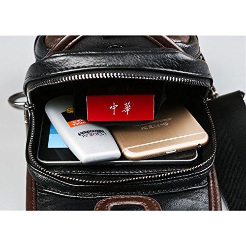 Outreo Borse in Pelle Borse Tracolla Uomo Borsello Petto Cuoio Borsa a Spalla  Vintage Sacchetto Viaggio per Tablet Sport Chest Bag Nero 7bfdb6c6869