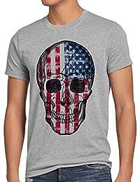 style3 USA Vintage Skull T-Shirt Homme US drapeau Totenkopf crâne