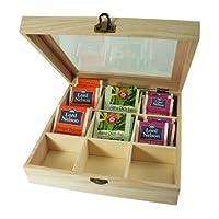 Incutex boîte de rangement thé, boîte thé compartiments, boîte thé sachets, boîte thé bois avec 9 compartiments et fenêtre transparente