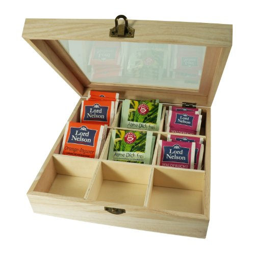 Incutex caja almacenaje té, caja té compartimentos, caja té bolsitas, caja té madera con 9 compartimentos y ventana transparente