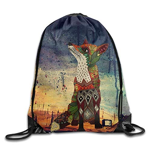 Naiyin Fox Love Juniper Drawstring Gym Sport Bag, Large Lightweight Gym Sackpack Backpack for Men and Women -