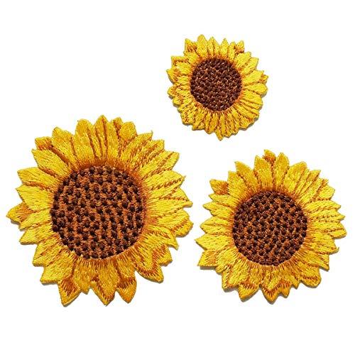 YXJD 3pcs Kleidung Patches Set Sonnenblume Aufnäher Kleidung Flicken Stylische Applikation Aufbügler Aufkleber für Jeans T-Shirt Tasche Deko