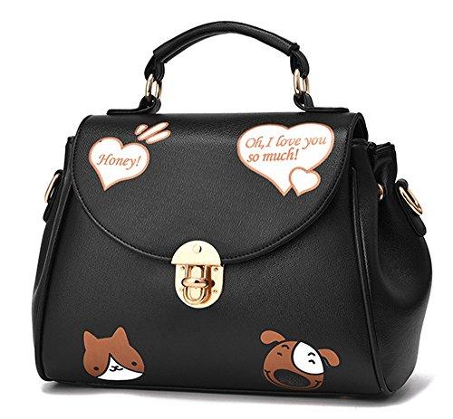 Xinmaoyuan Damen Handtaschen Frühling Casual Bag Pu Druck kleiner Platz Schulter Tasche Messenger Bag, schwarz Schwarz