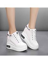 BBSLT-Primavera Elegante Bizcocho Base El Movimiento La Ultra-Alta Aumentan Con La De 10Cm Grueso Ocio Zapatos De Mujer Un 39 Zapatos Blancos.