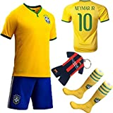 Kids Goods Best Deals - KID BOX 2014 FWC #10 Soccer Football Jersey Sportswear Team Polo Shirt & Short & Sock & Key Chain for Kids 3-14 Years