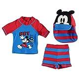 Disney Kinder Baby Bademode Set Oberteil Top Badehose Shorts Bademuetze Kappe Disney Mickey 6-9 Mnth
