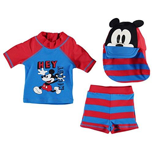 Disney Boxer Shorts (Disney Kinder Baby Bademode Set Oberteil Top Badehose Shorts Bademuetze Kappe Disney Mickey 9-12 Mnth)