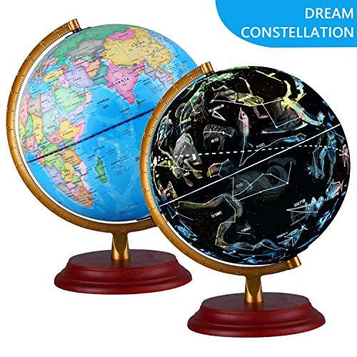 TTKTK Leuchtglobus 20CM Sternbild Globus Plattform Globe Globen mit Holzfuß für Kinder Büro Deko Inneneinrichtung Schülerglobus in Englischer Sprache