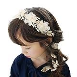 Amison diadema para niña, venda flor pelo perla banda cordón muchachas de las vendas Accesorios para el cabello (blanco)
