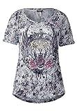 Street One Damen Blüten Crashshirt mit Print Off White 36
