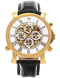 Boudier & Cie SK14H035 - Reloj analógico de pulsera para hombre (esqueleto mecánico, automático), correa de cuero blanco/negra