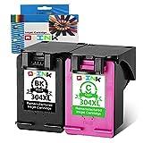 Qink Lot de 2 pour HP 304XL Noir cartouche d'encre couleur Show précise Niveau...