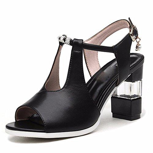 GTVERNH-black 7.5cm estate i sandali signore dei tacchi alti la bocca del pesce con le scarpe scarpe con spessi corrispondono tutti,trentotto Forty