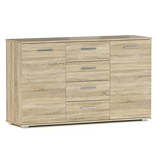 Kommode Sideboard Highboard CHICAGO in Sonoma Eiche mit 2 Türen und 4 Schubladen