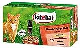 Kitekat Katzenfutter Frischebeutel Mix / Bunte Vierfalt in Sauce / Nassfutter Multipack für Katzen / 48 x 100g Portionsbeuteln / Huhn, Rind, Ente, Lachs