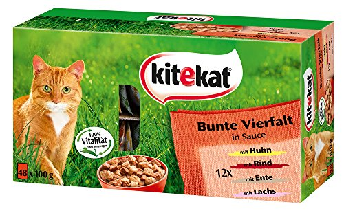 Kitekat Katzenfutter Bunte Vierfalt, 48 Beutel, 1er Pack (48 x 100 g)