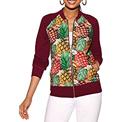 Lenfesh Chaqueta de Mujer, Otoño Invierno Chaqueta Impresión de piña de Mujeres Chica Coat Abrigo Sudadera con Manga Larga Jacket Slim Sudadera Deportes para Mujer