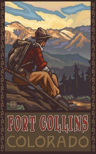 Northwest Art Mall Fort Collins Colorado Mountain Hiker Man Kunstwerk von Paul A Lanquist, 28 x 43 cm