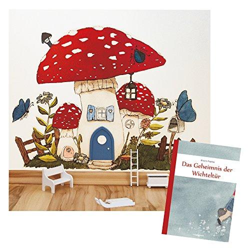 Preisvergleich Produktbild Das Geheimnis der Wichteltür - Großes Geschenk-Set - bestehend aus Kinderbuch, Wandtattoo und 4-teiligen Holz-Zubehör (mit blauer Tür GLOW)