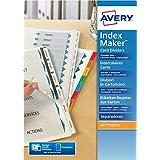 Avery España 01730061 - Separadores personalizables con etiquetas transparentes, 6 pestañas, 297 x 225 x 3 mm, color blanco