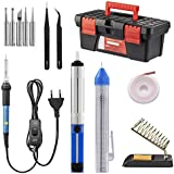 Lötkolben set, Including 60W Temperature Control Soldering Iron with ON/OFF Switch, Tips, Solder Sucker, Desoldering Wick, Solder Wire, Anti-static Tweezers and Stand with Cleaning Sponge