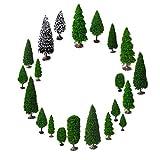 Mixed Modellbau Bäume mit Base, OrgMemory Schleich Wald, h0 Figuren, Modelleisenbahn Figuren, (19pcs, 5-15 cm), h0 Landschaftsbau