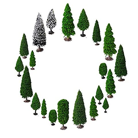 Mixed Model Bäume mit Base, OrgMemory Diorama Modelle, Modellbahn Landschaft,