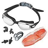 JTDEAL Gafas de Natación Lente de Espejo con Pinza para la Nariz y Dos Pares de Tapones para los Oídos Ajustable Protección UV y Tecnología Anti-niebla - Negro
