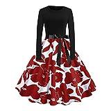 IZHH weihnachtskleid Damenmode Elegante Kleider Italienische Mode Geschenkideen Sommerkleider ägypten Abendkleider Rotes Kleid Swing Kleider Lange Kleider Adventskalender(R-Rot,Large)