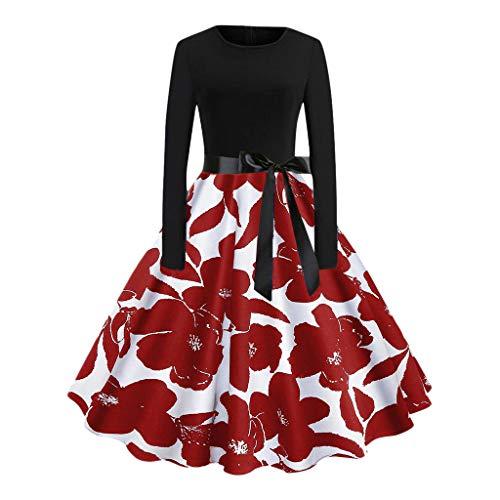 Damen Kleider,Dasongff Elegant Maxikleider Partykleid Festkleider RundhalsVintage 1950er Evening Party Dress Damenkleider Herbst Winter Frauen Rockabilly Kleid