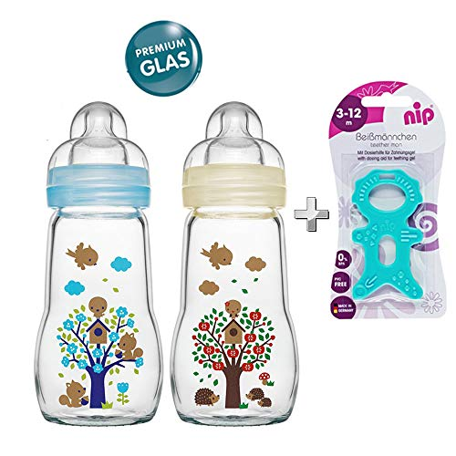 MAM Glasflasche Glas Flasche Feel Good Glass Bottle Neutral 260 ml Glas Flasche inkl. Sauger Größe 1 ab Geburt, 2 Stk.