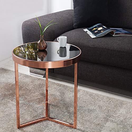 CAGÜ: Design Beistelltisch [Diana] Schwarz Glasplatte auf stylischen Dreibein-Kupfergestell 50cm Höhe Art Deco