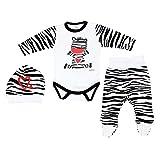 TupTam Unisex Baby Bekleidungsset mit Aufdruck 3 TLG, Farbe: Zebra, Größe: 74