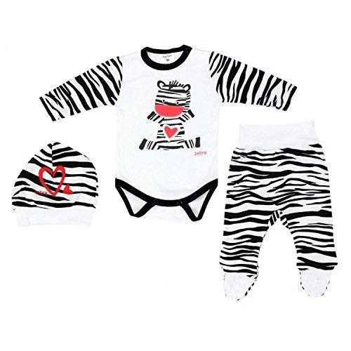 TupTam Baby Unisex Bekleidungsset mit Aufdruck 3 TLG, Farbe: Zebra, Größe: 56