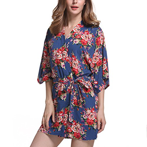 GGTFA Kimono Vintage Stampa Floreale Accappatoio Abito Indumenti Da Notte Di Nozze Abiti Di Nozze Abiti Royal Blu