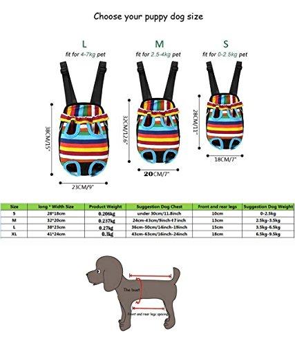 Kismaple Borsa frontale dell'animale domestico, Regolazione pratica di mani libere Zaino del cane / zaino del cane Borsa a tracolla doppia Per passeggiare a piedi Shopping Bike e moto colorato