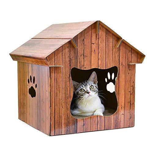 Jstyal968 Yalztc-zyq16 Katzenstreu Warme Holzmaserung Pet House DIY Haus Innenausstattung Grinder Heimtierbedarf Vier Jahreszeiten Universal 36 * 35 * 40 cm