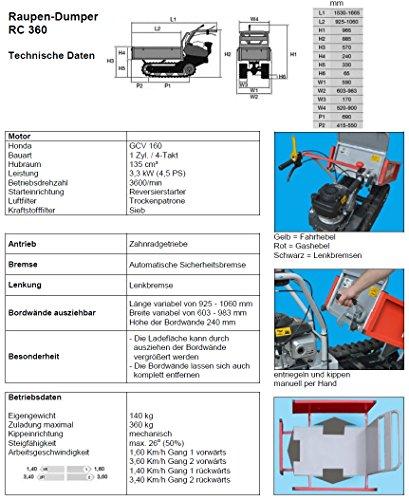 POWERPAC RC360 – RAUPENTRANSPORTER RAUPENDUMPER DUMPER MINIDUMPER KETTENDUMPER - 3