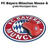FC Bayern München Snappy Mouse / Maus mit 1200 dpi und 1,5 m Kabel FCB - Fan Edition plus gratis Mousepad rund & Aufkleber forever München