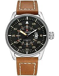Relojes de Pulsera analógicos de Cuarzo para Hombre con Correa de Piel marrón con Fecha automática