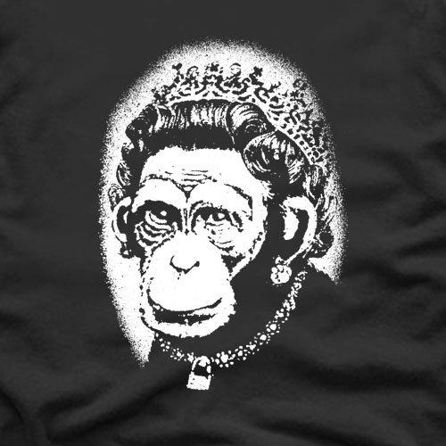 Banksy monkey Queen T-Shirt, Herren Schwarz