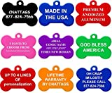 Bone Pet ID Tags | 2 Sizes Small Large| 8 Colors | by CNATTAGS® (LIFE TIME WARRANTY)