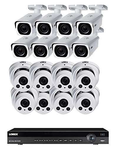 Lorex 8mp 4K Ultra HD Ip 2 HDD Slot NVR-System mit 4K Lnb8963Bw Ip Kugel Und 4K Lne8964Ab Audio Ip-Dome-Kameras Paket Cameras 16 w / 16 CH NVR Weiß (Lorex-sicherheit Ip-kamera-system)