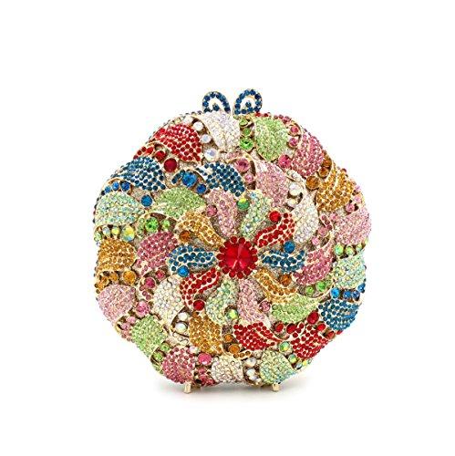 Damen Abendtasche Wasser-Diamant-Intarsien Blumen-Diamant-Armband Braut-Beutel-beweglicher Partei-Beutel picture color