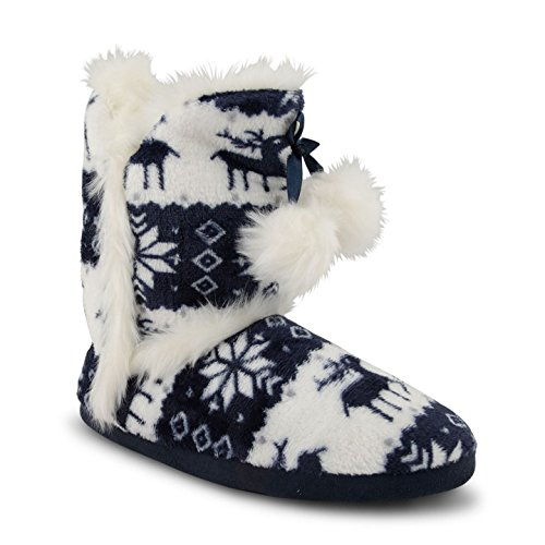 Womens Ladies Pom Pom Fair isle Knit Fur Lined Warm Winter Ankle Bootee Slippers