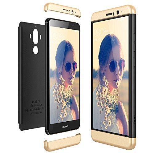 CE-Link für Huawei Mate 9 Hülle Hardcase 3 in 1 Handyhülle Ultra Dünn Hartschale 360 Grad Full Body Schutz Schutzhülle Bumper - Gold + Schwarz