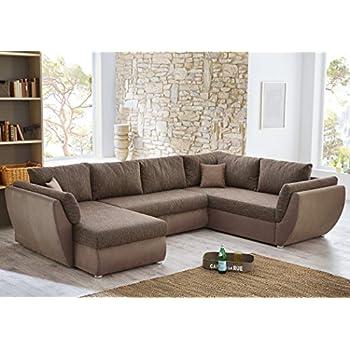 Couch u form braun  Wohnlandschaft Ontario 326x231/166cm Mikrofaser Lava Stoff braun ...