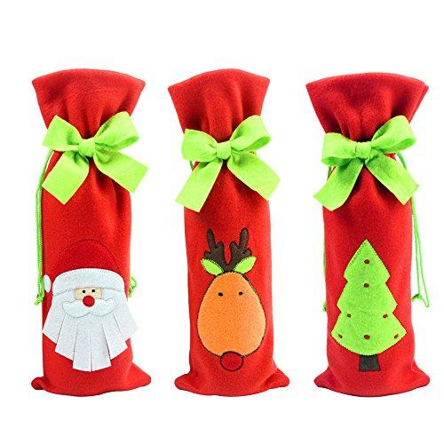 Contever® 3 pz Natale Coulisse Borsa Pouch per Bottiglia Di Vino 36 x 13 cm