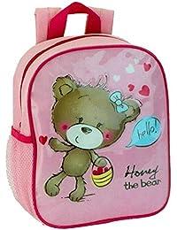 Preisvergleich für Kinderrucksack - Honey the Bear - 412 Mini Kinder Rucksack mit Brustgurt Adressfach Kindergartentasche