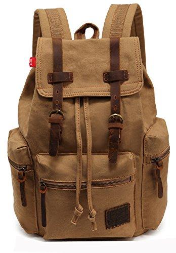 Satchel Escuela Mochila Hombres Mujeres Vintage Canvas Backpack Senderismo Bolsa Casual Bolsa de viaje Bookbag Ipad Bolsa (khaki, 28*16*42cm)